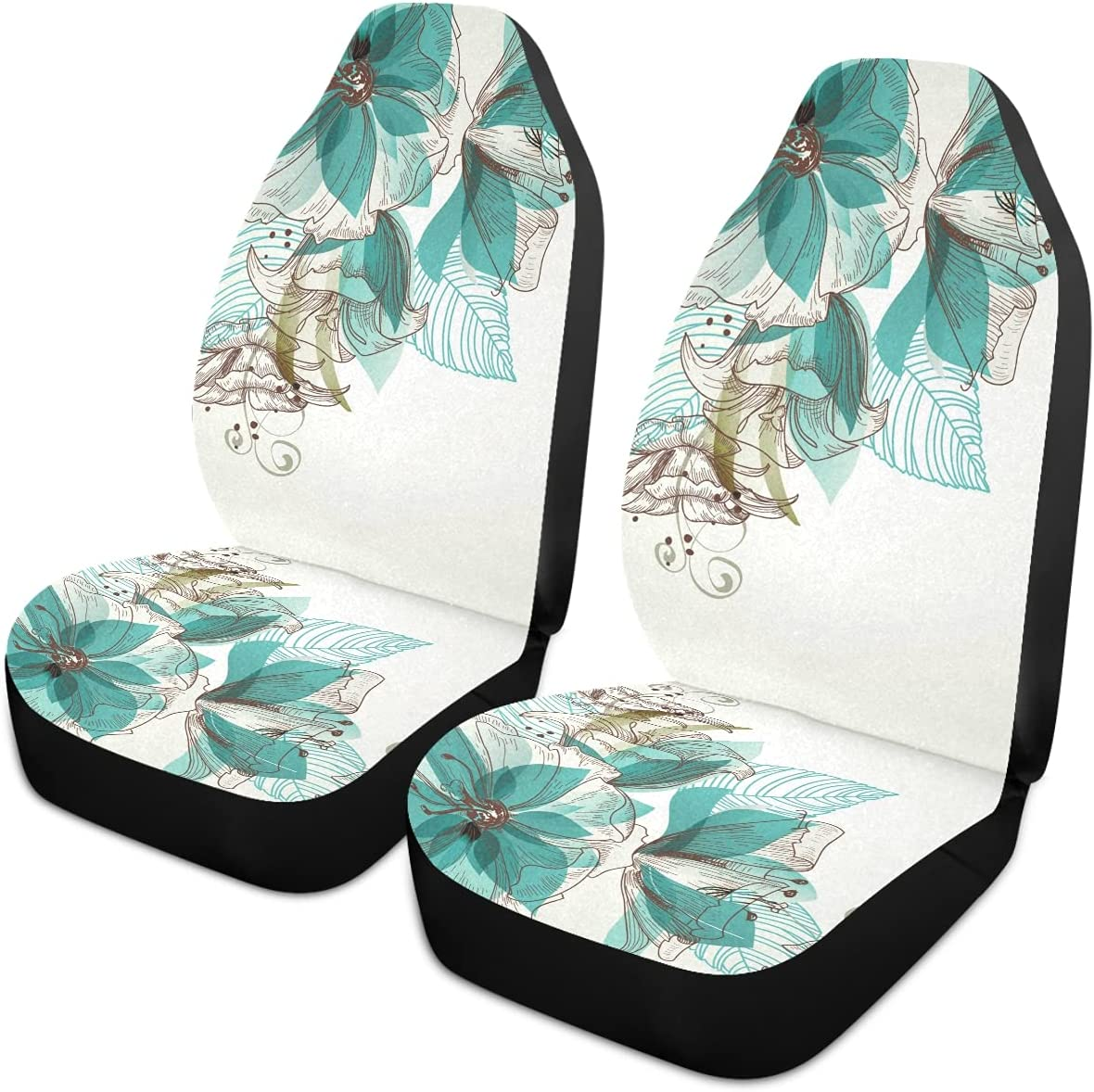 Oarencol Vintage Max 43% OFF Teal Flower Green Florals Car Seat Unive Covers Low price