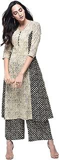 Zoeyams Womens Multicolored Cotton Printed Long Anarkali Kurta With Cotton Palazzo