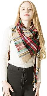 Richaa Bufanda para Mujer, Bufanda Mujer Suave Cuadros Escocesa Caliente Retro Bufanda Enrejado Mantón Otoño Invierno