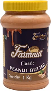 FARMNUT CLASSIC PEANUT BUTTER (Crunchy) -1 kg, Made with Roasted Peanuts, Zero Cholesterol & Transfat, High in Fibre & pro...