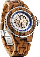 Wilds Premium Mens Wooden Watch - Automatic Movement - Self Winding Mechanical Wood Watches Watch for Men - No Battery Replacement for Life - Fit to Any Wrist Size- Men Gift Idea for Any Occasion