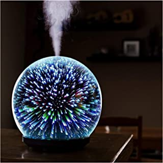 3D Glass Oil Diffuser 200ml Premium Ultrasonic Aromatherapy Oils Humidifier with Amazing LED Night Light Waterless Auto Sh...