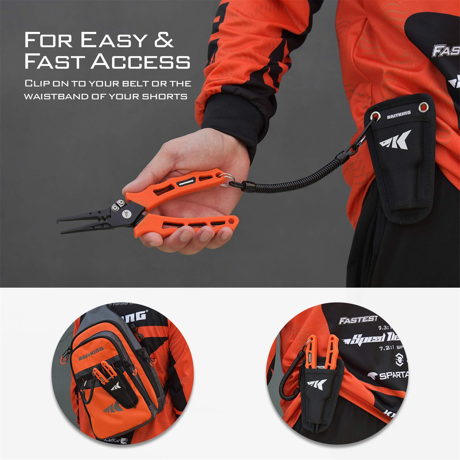 KastKing Cutthroat 7 inch Fishing Pliers, 420 Stainless Steel Fishing Tools, Saltwater Resistant Fishing Gear, Tungsten Carbide Cutters, Corrosion Resistant Teflon Coating, Rubber Handle