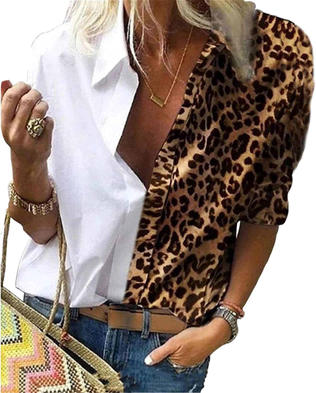 Andongnywell Women's Long Sleeve Button Down Leopard Print Shirt Blouse Cheetah Print Loose Shirt Chiffon Shirt