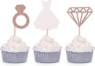 Set of 24 Glitter Diamond Ring Wedding Dress Cupcake Toppers for Engagement Bridal Shower Decorations