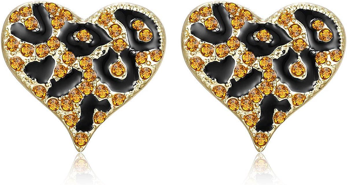 Leopard Print Heart Stud Earrings Alloy Rhinestone Animal Print Earrings Hip Hop Costume Cocktail Earrings for Women