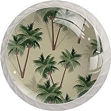 Decor Set van 4 deurknoppen Vintage Chic kast lade trekgrepen,Tropische palmbomen patroon Retro