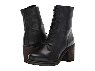 Frye Karen Combat (Black Vegetable Tan Leather) Women