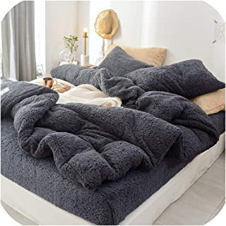 Nice warm Solid Lamb Cashmere Bedding Set Thicken Flannel Fleece Bed Linens Velvet Duvet Cover Set Sandred Bed Cover Pillowcase,Classic Grey,3Pcs 150X200