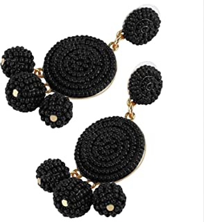 Tbestmax Fashion Statement Drop Earrings for Women Dangle Beaded Earring Hoop Ear Ring Round Whimsical Handmade Black