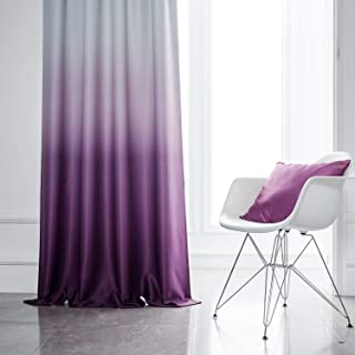 Yakamok Room Darkening Gradient Curtain Panels Ombre Purple Blackout Curtains Thermal Insulated Rod Pocket Window Drapes for Living Room/Bedroom (Purple, 2 Panels,52x84 Inch)