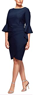 Women's Plus-Size Short Slimming Sheath Dress with Bell Sleeves