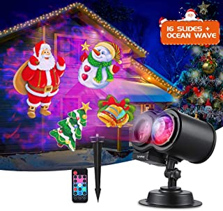 LYRABAY Outdoor Christmas Light Projector 2-in-1 Ocean Wave 16 Slides Pattern Waterproof Xmas LED Projector Lights, Yard Garden Holiday Christmas New Year Birthday Party Decorations