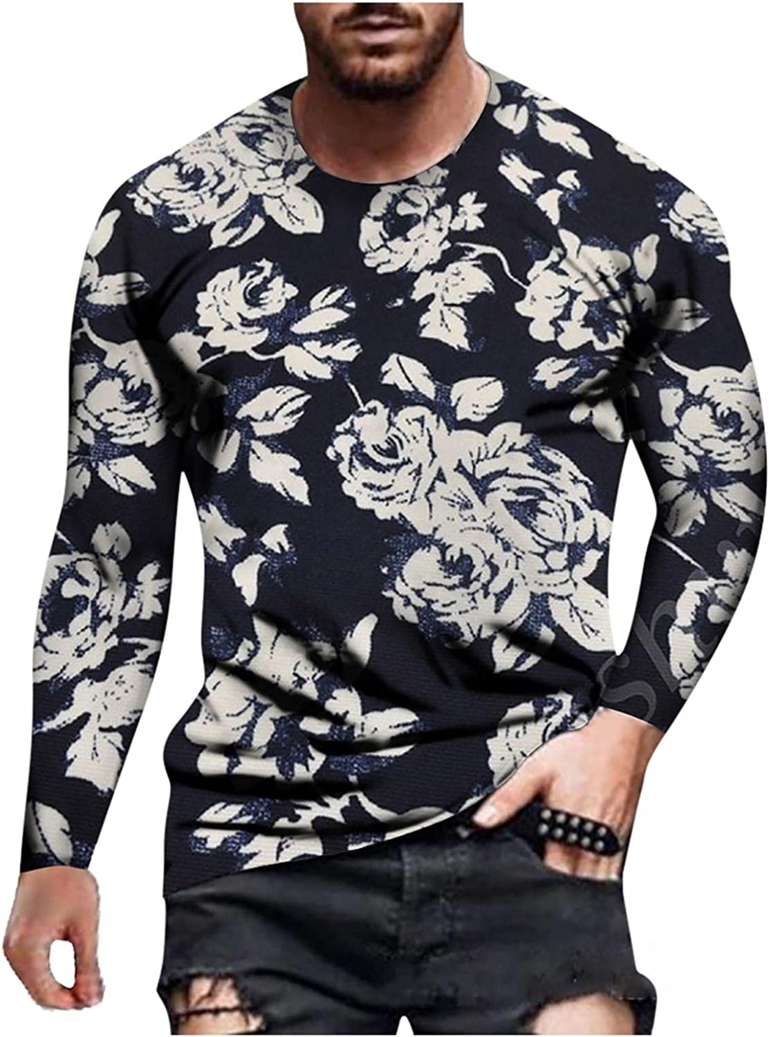 FUNEY Vintage Graphic Tees Men Fashion Funny 3D Print Muscle Fitness Long Sleeve Round Neck Tops Novelty Design T-Shirts