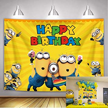 Amazon Com Cartoon Minions Backdrop Yellow Cartoon Animation Photo For Children Kid Happy Birthday Party Background Baby Shower Cake Table Banner Studio Props 7x5ft Camera Photo