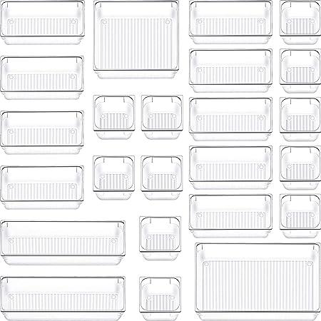 SIUNDAM Lot de 24 Organisateur Maquillage , Plateaux Boîte de Rangement pour tiroir Cosmétiques Plastique Boîte Stockage, Organiseurs de Tiroir pour Cosmétiques, Bureau, Cuisine - 5 tailles