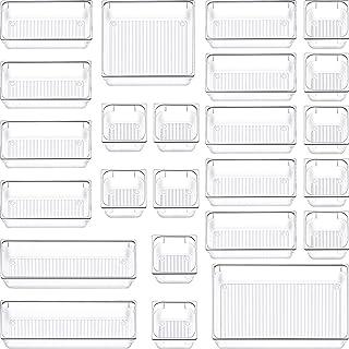 SIUNDAM Lot de 24 Organisateur Maquillage , Plateaux Boîte de Rangement pour tiroir Cosmétiques Plastique Boîte Stockage, ...