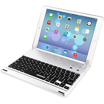 iPad 9.7インチ(第6世代、2018 / 第5世代、2017)用キーボード, Arteck超薄型Bluetoothキーボード フォリオケースカバー スタンド付き Apple iPad第6世代、第5世代、iPad Air1に対応 130°旋回