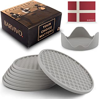 Barvivo Drink Coasters Set of 8 /w Holder - Tabletop Protection for Any Table Type, Wood, Granite, Glass, Soapstone, Sands...