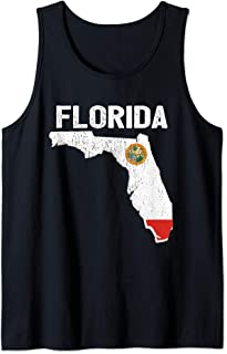 Florida Stae Shape Distressed Souvenir Gift Tank Top
