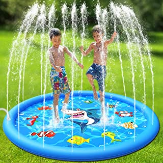 Sprinkler Pool for Kids,Splash Pad,Wading Pool,Children's Inflatable Water Play Mat Toys,Outdoor Backyard Summer Swimming Water Party Fountain Pool,Water Jet Purling for Babies and Toddlers,60