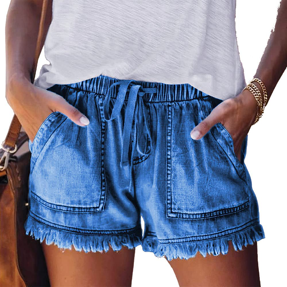 Women's Frayed Raw Casual Hem Denim Shorts Drawstring Jean Shorts oose Fit Comfy Shorts with Pockets