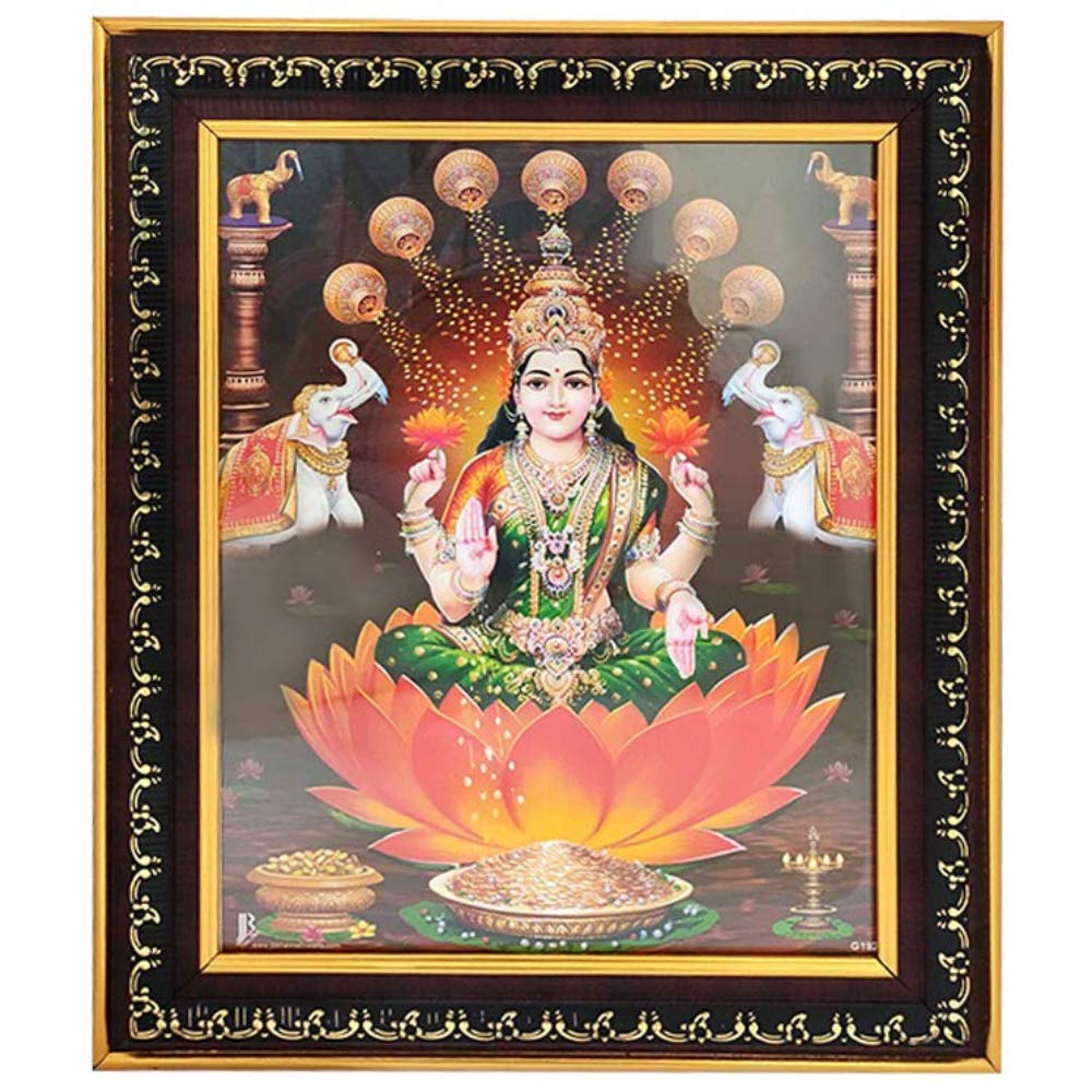 Puja N Pujari Goddess Lakshmi Devi Photo Frame With Nice Background For Pooja Room And Wall Hanging L H 11 5 X 14 5 Inch Amazon In Home Kitchen