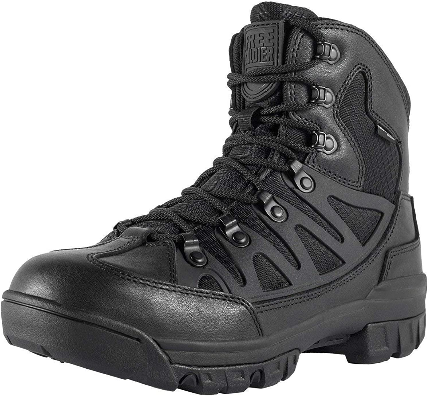 FREE SOLDIER Men's Outdoor Military Tactical Ankle Boots Ultra Combat Mid Hiking Boot (Black + Full Grain Leather, 10)