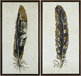 Urban Habitat Gilded Feathers Printed Canvas with Gold Foil 2 Piece Set Yellow See Below