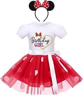 IBTOM CASTLE Baby Girls' Polka Dots Leotard Dresses Fancy Dance Costume Cosplay Tutu Dress up with Ears Headband, White+re...