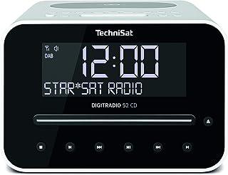 TechniSat Digitradio 52 CD Stereo DAB Radiowecker mit zwei einstellbaren Weckzeiten (DAB+, UKW, Snooze, Sleeptimer, dimmbares Display, Bluetooth, Wireless Charging Funktion, CD Player) weiß