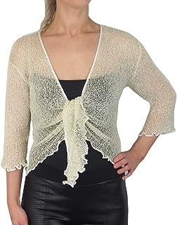Mimosa Ladies Popcorn Style Crochet Plain Stretch Tie at Waist Bolero Shrug
