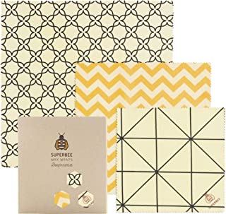 SuperBee Premium Beeswax Wraps | Set of 3: Small, Medium and Large | Long-Lasting, Organic, Eco Friendly & Ethical Trade R...