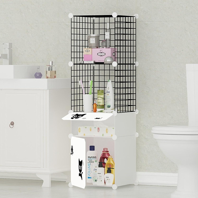 Simple Assembly Bathroom Shelf, Floor Locker, Bathroom Toilet Toilet Storage Cabinet (39  37  129cm) ( color   White Meng cat )