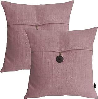 Phantoscope Set of 2 Button Pink Linen Decorative Throw Pillow Case Cushion Cover 20
