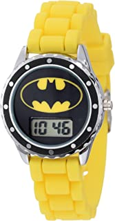 Batman Kids' BAT4048 Yellow Rubber Batman Logo Strap Casual Watch
