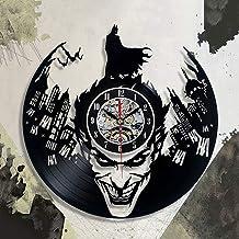 ساعة حائط إبداعية ثلاثية الأبعاد من الفينيل مطبوع عليها صورة باتمان المهرج ثلاثية الأبعاد حلي لغرفة المعيشة والنوم غير موقوتة