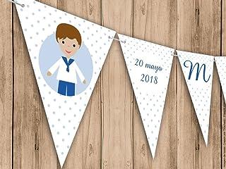Guirnalda Mi Primera Comunión niño. Guirnalda decorativa. Banderines para fiestas.