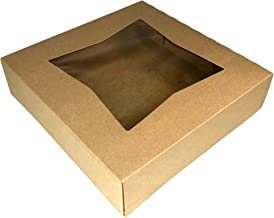 "Multiple Size and Color Options - 6 Superior Quality Bakery Take Out Cake and Cookie Boxes with Display Window- (10"" x 10"" x 2.5"", Kraft)"