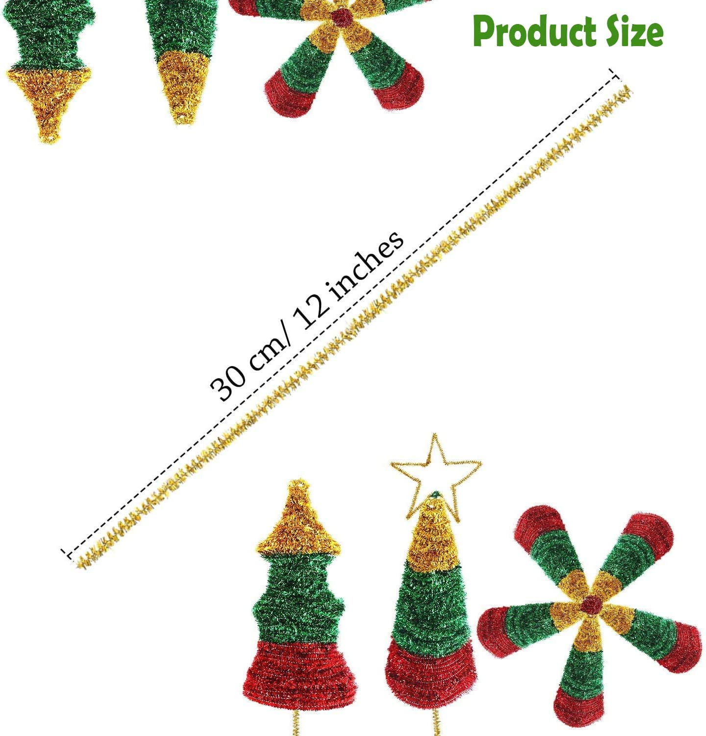 Total 400 PCS Silver Glitter Chenille Stems Green Red 12 Inches Craft Pipe Cleaners Creative Arts Chenille Stems for DIY Craft Christmas Decoration Gold