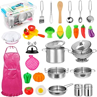CHAREADA Kids Kitchen Pretend Play Toys Toy Kitchen Set with Stainless Steel Cooking Utensils Cookware Pots and Pans Set H...