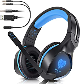 BUTFULAKE Stereo Gaming Headset for PS4 Xbox One Nintendo Switch, Noise Cancelling 3.5mm Wired Adjustable Over-Ear with Mic, Volume Control and LED Lights for Laptop PC Mac iPad Smartphones (Blue)