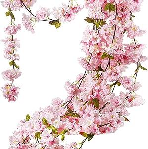 TBUY 1 Pack Fake Artificial Flowers Sakura Vine Garlands for Home Hotel Decor (Pink)