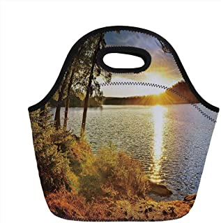 Lunch Bag Portable Bento,Landscape,Sunset Dawn in the Forest over Lake of Two Rivers Algonquin Park Ontario Canada,Multicolor,for Kids Adult Thermal Insulated Tote Bags