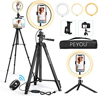 """12"""" Selfie Ring Light with 50"""" Tripod Stand & Mini Desktop Tripod, PEYOU LED Ring Light Tripod with 4 Phone Tablet Holders..."""