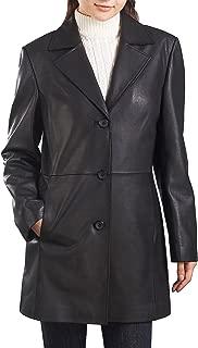 Women's Danielle Lambskin Leather Walking Coat (Regular and Plus Size and Short)