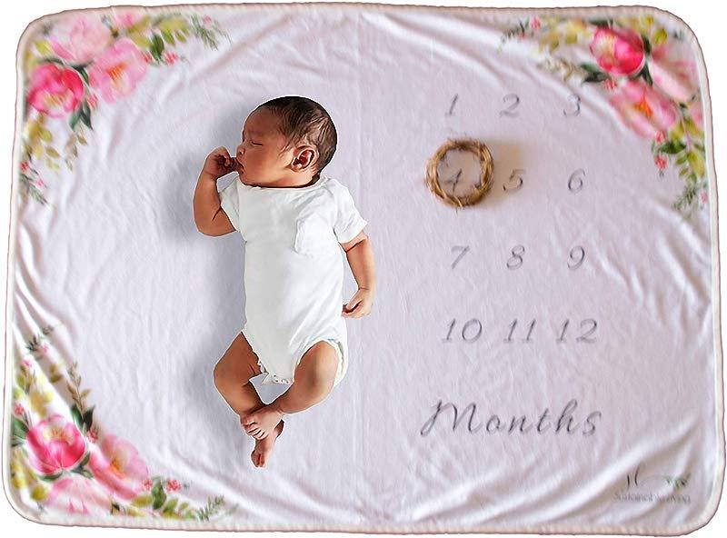 Monthly Baby Milestone Blanket Boy Girl Premium Fleece 30 X 40in Floral Print Photography Prop Scrap Booking
