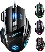 VicTsing Souris Gamer filaire -5500 dpi -7 boutons, Souris Gaming optique avec 5 Niveaux Sensibilité réglable, Souris de Jeu LED pour Pro Gamer, PC, Ordinateur Bureau/Portable