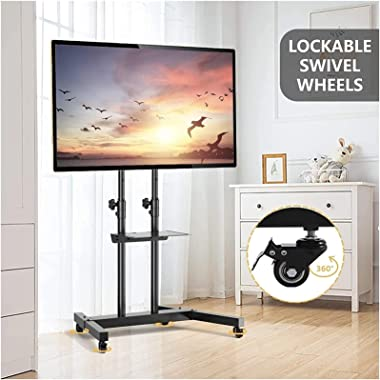Rolling TV Mount Stand on Wheels for 32-65 Inch Flat Screen TVs Mobile Cart with Height Adjustable Metal Shelf