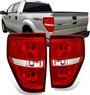 AmeriLite Red/Clear Brake Rear Replacement Tail Lights for 2009-2014 Ford F150 F-150 - Passenger and Driver Side